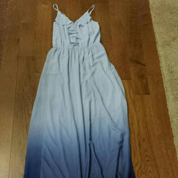 Lauren Conrad Dresses Ruffle Top Blue Ombre Maxi Dress Xs Poshmark