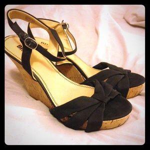 BP Sierra black cork peep-toe wedges. Size 10