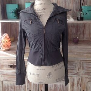 Black Poppy Jackets & Blazers - grey cropped jacket