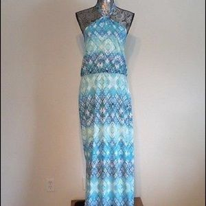 Cynthia Rowley Blue Geo Print Maxi Dress NWOT