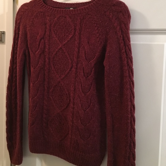 H&M - Maroon Cable Knit Sweater from Madison's closet on Poshmark
