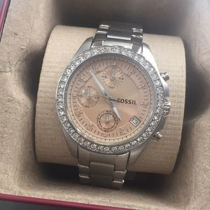 Fossil silver boyfriend watch with crystals