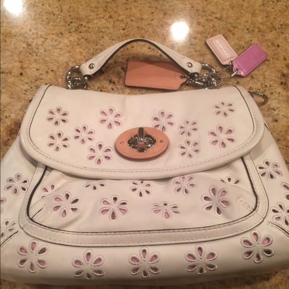 Coach Bags Off White Purse With Flowers And Pink Lining Poshmark