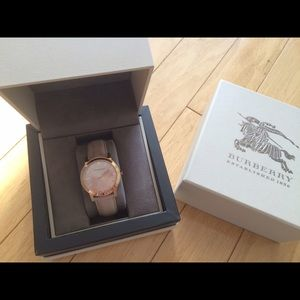 Burberry Check Stamped Rose Gold Watch