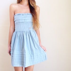 | new | chambray strapless dress