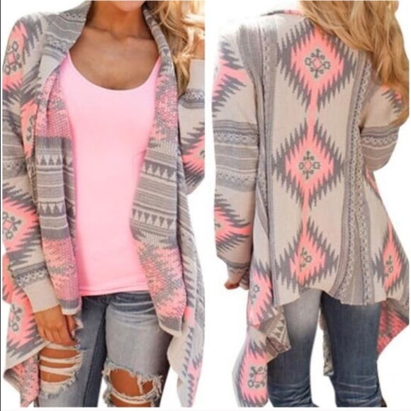 58% off Sweaters - Pink gray white tribal aztec print cardigan ...