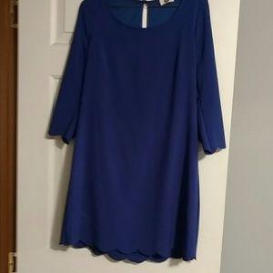 JEM Dresses & Skirts - Blue scallop tunic dress 3/4 sleeve