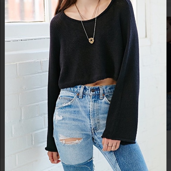 Urban Outfitters Sweaters Silence Noise Black Sam Cropped Sweater