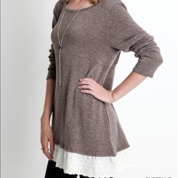 48% off Umgee Sweaters - Chestnut Lace Sweater Tunic Top from ...