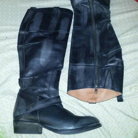 b5161eb2d12 Bianco Footwear Shoes | Nwot Black Tall Leather Boots 387 | Poshmark