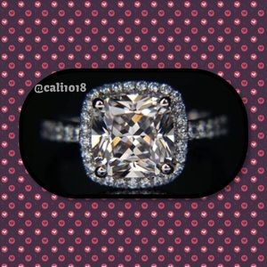 Boutique Jewelry - ⚡Lowest 1 HR SALE🆕3ct Cushion Cut 925 Silver Ring
