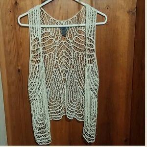 Ivory woven vest