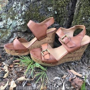 Tan cork wedges // Barely worn