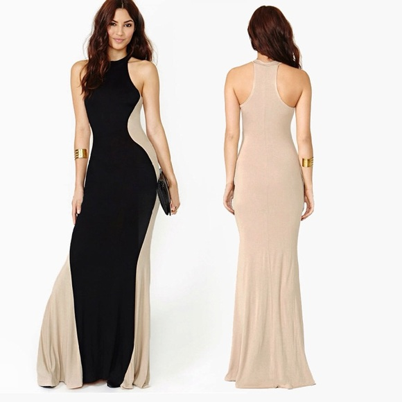 Dresses Black And Tan Hourglass Maxi Dress Poshmark