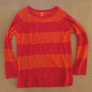 Joe Fresh Orange & Pink Striped Sweater