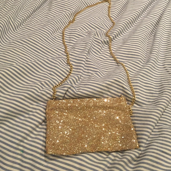 J Crew Bags J Crew Sparkly Gold Long Chain Purse Poshmark