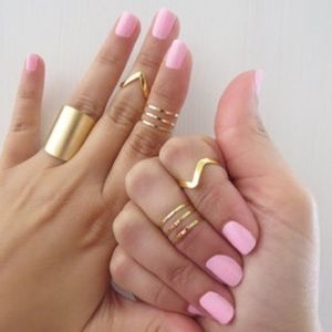 Gold Tone Midi Knuckle Ring Set