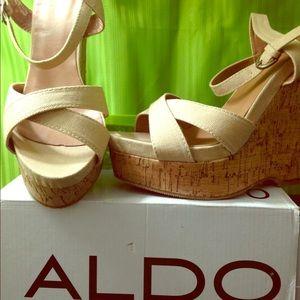 ALDO PONE Beige Sandals Wedges Sz 40 (US 9 - 10)
