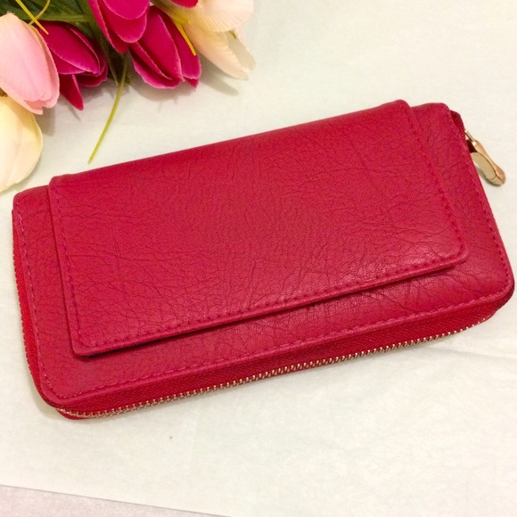 Handbags - Red Faux Leather Wallet