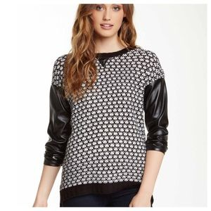 Romeo & Juliet Couture Sweaters - Couture faux leather crew neck sweater