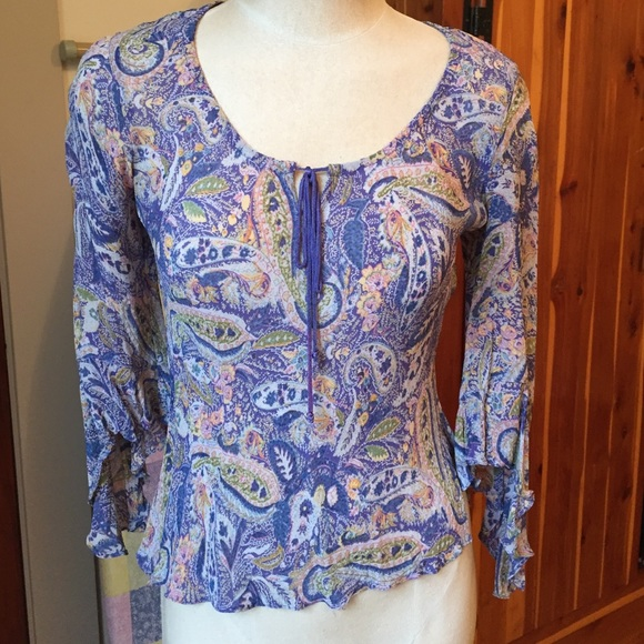 Angie Tops - Flattering paisley print top with flowing sleeves