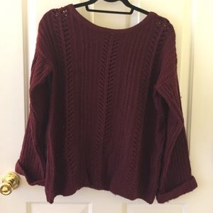 Francesca's Collections Sweaters - Maroon oversized slouchy knit sweater