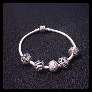 gorgeous pandora bracelet: 2 stoppers, 3 charms