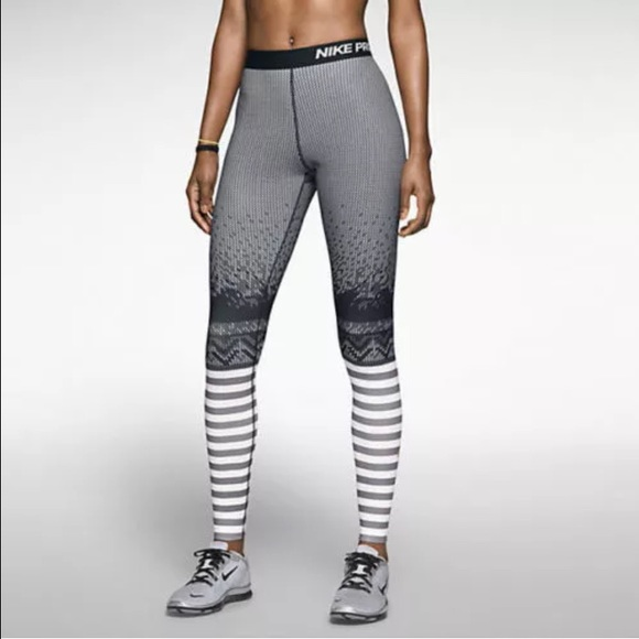 60% off Nike Pants - Nike Pro Hyperwarm Engineered Striped Tights ...