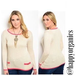 Cream and Pink Sweater with front pockets