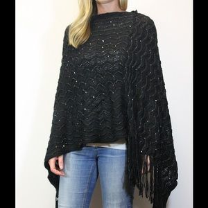 Black Poncho with Sequins & Fringe