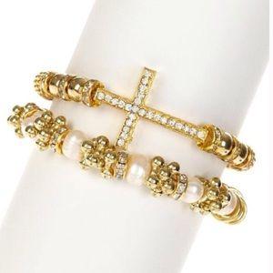Cross & Pearls Bracelet Set