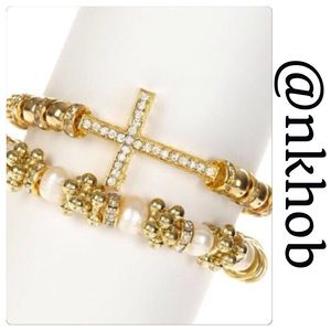 T&J Designs Jewelry - Cross & Pearls Bracelet Set