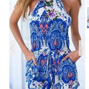 Pants - Blue open back romper