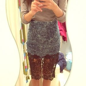 Dresses & Skirts - Denim Lace Skirt