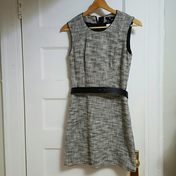 5fb39fc4208f H&M Dresses | Hm Black White Tweed Dress With Belt | Poshmark