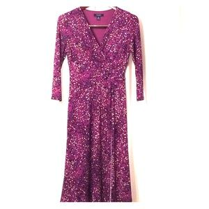 Chaps Purple 3/4 Sleeve Dress