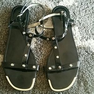 Black patent sandals