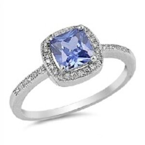 Tanzanite Sliver Ring With CZ