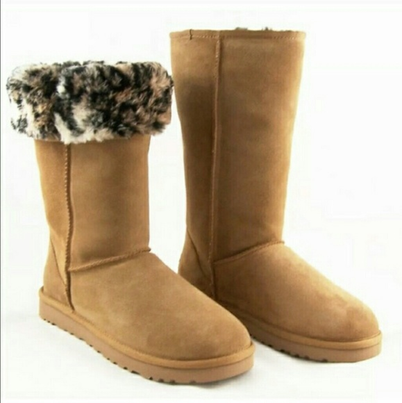 a461b886ebe0e UGG classic tall animal print fur boots Sz 9 NEW