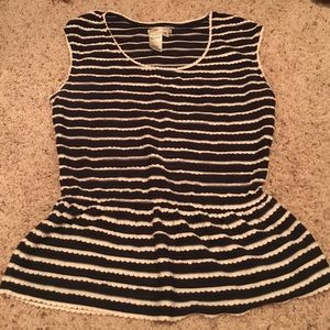 Sophie Max Tops - Navy and White Peplum top