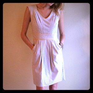 Casual or work stripe blue white dress pockets s 4