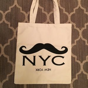 Handbags - Canvas mustache NYC shopping tote bag