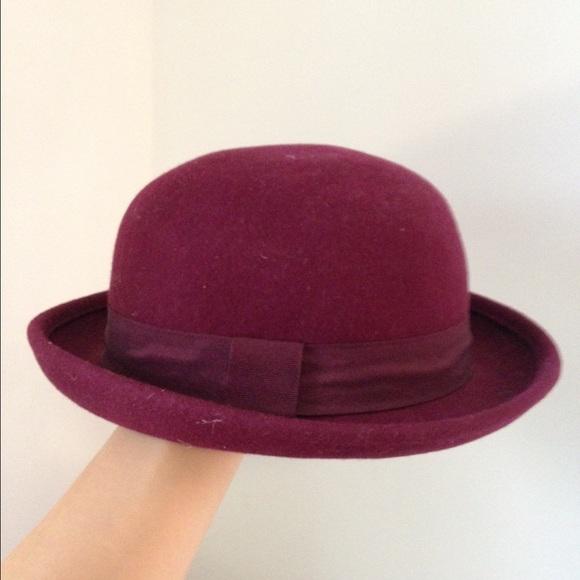 H M Accessories - H M maroon felt bowler hat ... 88bcd636c23