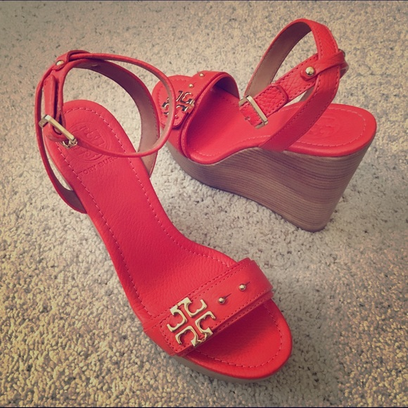 9b18413b70bdf Tory Burch Elina Wedge Sandals Red-Orange