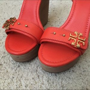 5f64adeaac180 Tory Burch Shoes - Tory Burch Elina Wedge Sandals Red-Orange