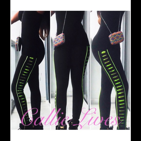 11% off Callie Lives Pants - Large Black Leggings with Neon Green ...