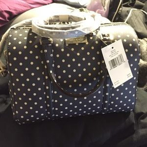 New! Kate Spade mini Cassie navy/polka dot handbag