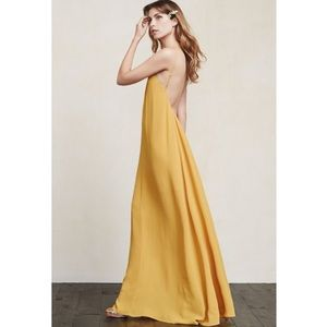 Reformation Dresses & Skirts - Reformation open back maxi long yellow gold  dress