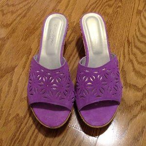 Sotto Sopra Shoes - Sotto Sopra Purple Suede Wedges