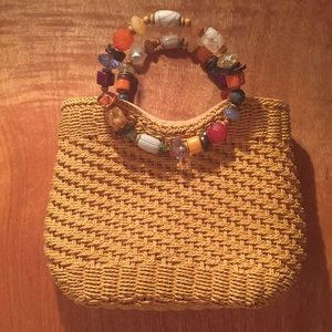 Handbag tan woven with colorful stones